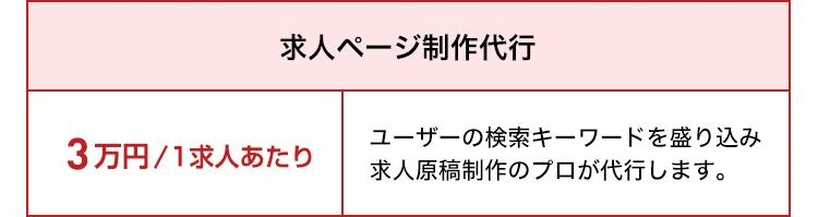 【求人ページ制作代行オプション】3万円/1求人あたり